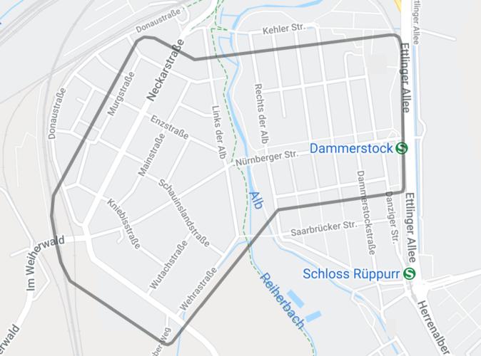 Kartenansicht von Dammerstock, in der das Bediengebiet des EVA-Shuttles gekennzeichnet wurde.