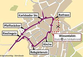 Karte des Stadtteils Stupferich mit der Umleitungsroute der Buslinie 23E und 47