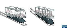 Visualisierung der zwei Fahrzeug-Formen, die nun in die engere Auswahl für die weiteren Planungen gekommen sind.